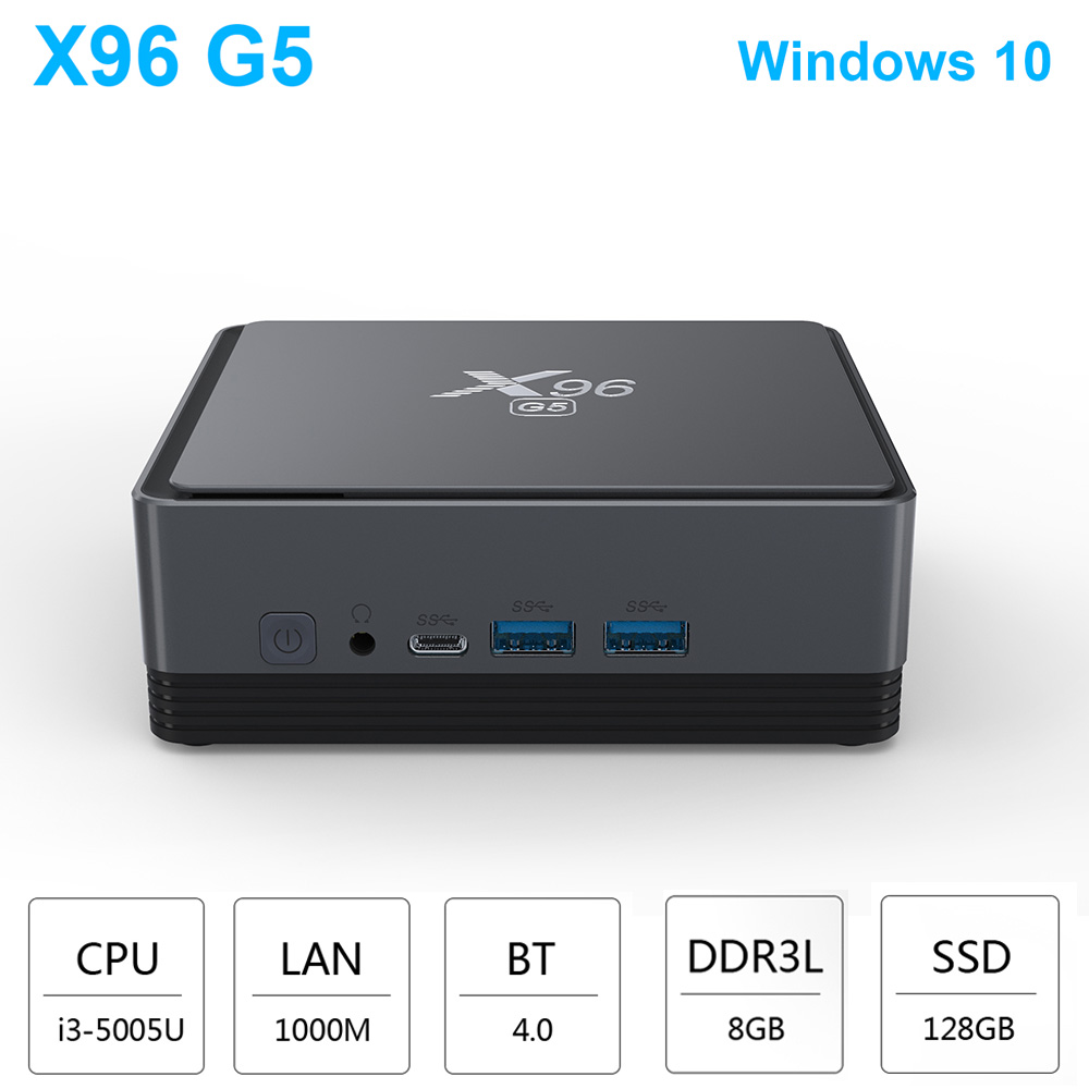 X96 G5 Windows10 Mini PC Intel I3-5005U 8GB DDR3L 128GB Protable Mini Pc 2.4G+5G Wifi 1000M LAN BT4.0 HDMI USB3.0 Smart Tv Box