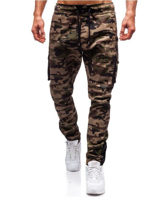 New Style Men Casual Camouflage Pants Fitness Pants-Multi-pockets Bib Overall Gymnastic Pants Men's