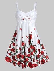 Женское мини-платье на тонких бретельках с цветочным принтом, с высокой талией, трапециевидной формы, вечерние платья для ночного клуба, пов...