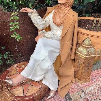 Winter Abaya Muslim Long Woolen Coat Islamic Warm Women Outerwear Arab Loose Thick Skirt