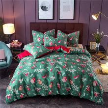 Christmas Gift Printing Bedding Set Quilt Cover Bedclothes Pillowcase