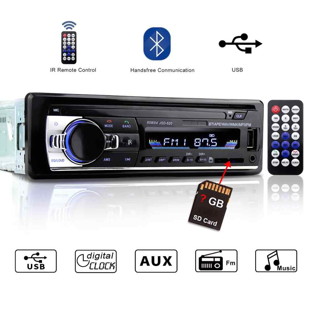 1 Din Mobil Radio Autoradio JSD-520 Auto Stereo 12v Bluetooth V2.0 Fm Aux Input Receiver 1din Car Audio SD USB Mp3 JSD 520