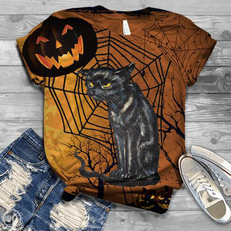 Harajuku Woman Tshirts Women Short Sleeve Female Halloween Cat Printed  O Neck Tops Graphic Tee T Shirt For Women Tops Plus Size