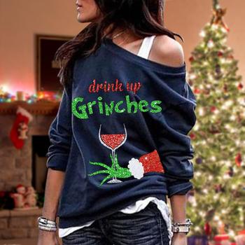 Nowo świąteczna bluza z długim rękawem z jednym ramieniem luźny krój nadrukowane litery wokół szyi bluza damska Top tanie i dobre opinie CN (pochodzenie) WOMEN Oddychające Pasuje prawda na wymiar weź swój normalny rozmiar