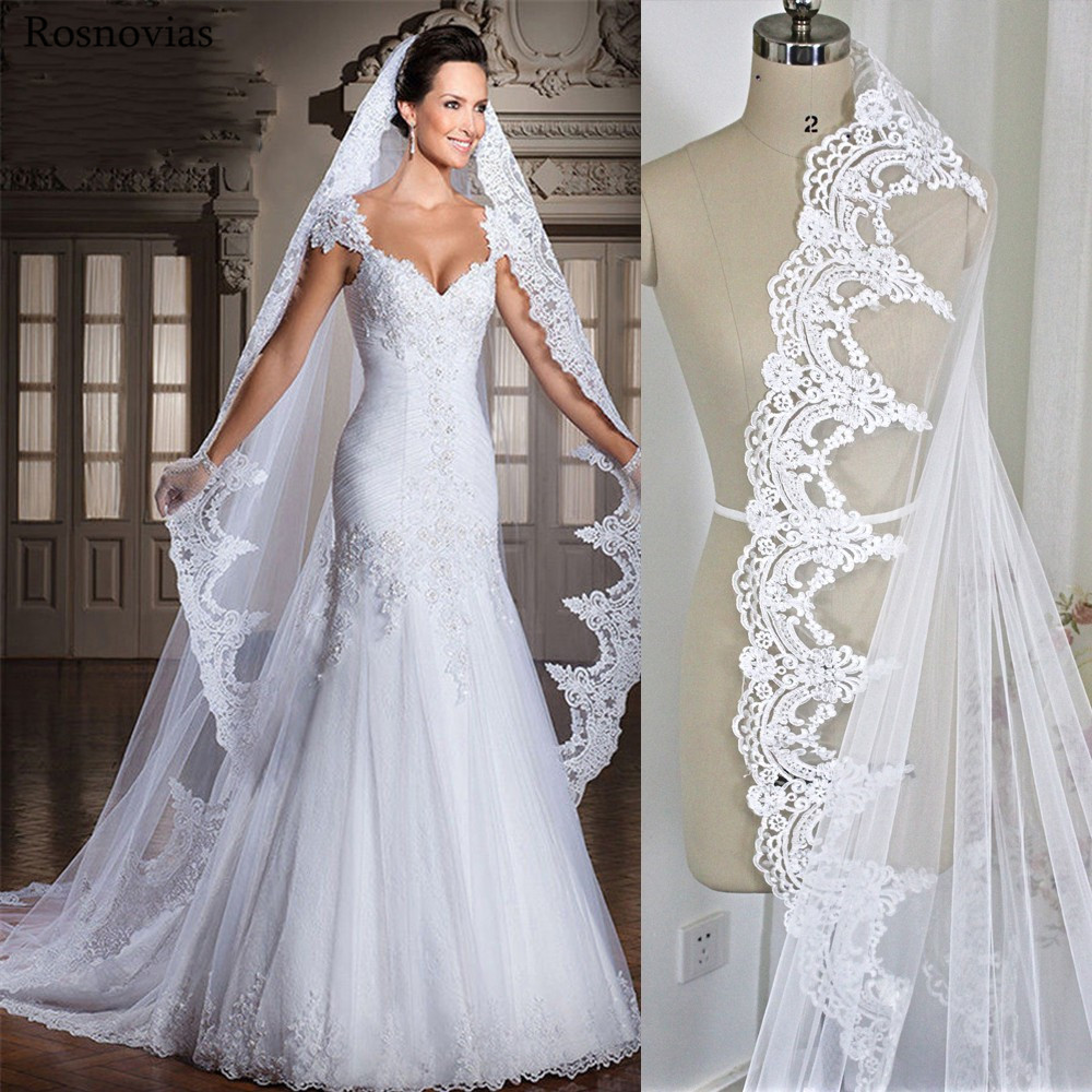White/Ivory Lace Edge Appliques Long Wedding Veils With Comb Bridal Head Veil Cathedral 3M Length Wedding Accessories