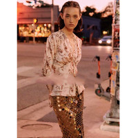 Classical Lady Pink Colour Printing Silk Diamond Buckle Shirt Lace Blouse Womens Ladies Tops And Blouses Boho Shirts Embroidery