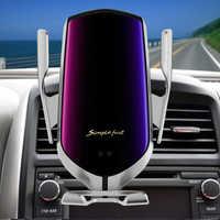 R1 Automatico di Bloccaggio 10W Caricabatteria Da Auto Senza Fili Per il iPhone 11 7 8 A Raggi Infrarossi Induzione Qi Wireless Caricabatteria Da Auto Del Telefono supporto