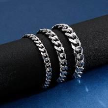 Pulseira de aço inoxidável, pulseira 7/9/10mm de largura, bracelete cubano, homens, crianças, joias clássica