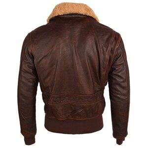 Image 4 - Chaqueta de cuero para hombre, 100% gruesa, piel de becerro, acolchada, con cuello de piel Natural, chaqueta de cuero desgastado Vintage, abrigo cálido para invierno, M253