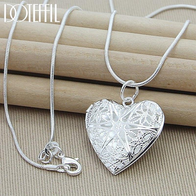DOTEFFIL 925 ayar gümüş fotoğraf çerçevesi kolye kolye 18 inç yılan zinciri kadın Charm bildirimi kolye moda takı