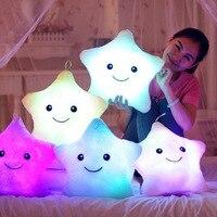 Lámpara de luz LED con forma de estrella para niños y niñas, almohada luminosa rosa, lámpara de Novedad Led, regalo de Navidad y cumpleaños, novedad
