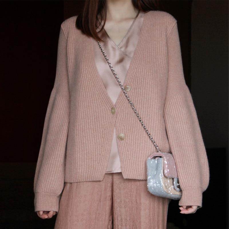 Femmes automne mode rose chandails femme longue lanterne manches lâche décontracté tricoté Cardigan coton épais chaud pulls pulls