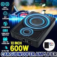 Truck Subwoofer Amplifier Speaker Powered Slim Super-Bass Under-Seat 10inch Car HIFI
