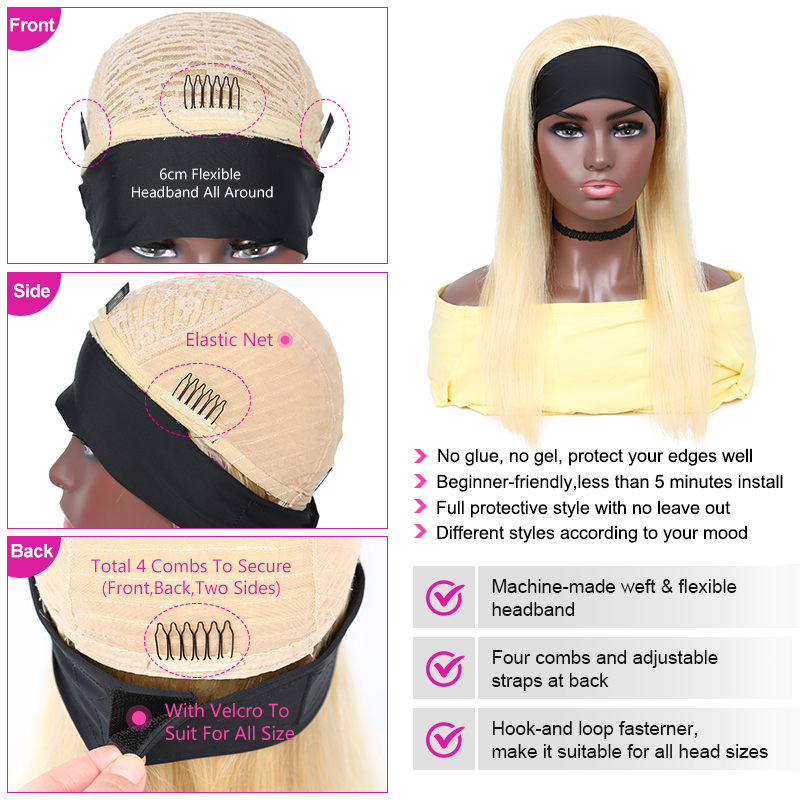 Yyong 28 30inch 613# Headband  Wigs  Honey Blond   Straight Headband Wigs Can be Colored 3