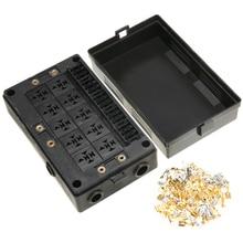 18 Way Fuse Relay Holder Dustproof Blade Holder+10 Socket Case Block For Automotive Marine