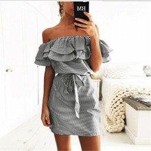 2019 Off Shoulder Strapless Striped Ruffles Dress Women Sexy Summer Sundresses Slim Beach Casual Shirt Short