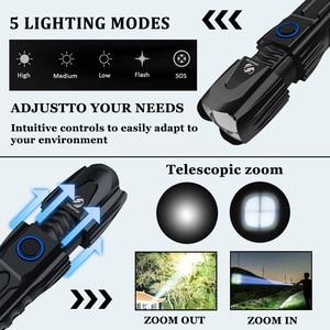 Image 4 - S228 مصباح ليد جيب مع P90 خرزة مصباح عالية الطاقة 6200LM التكتيكية مقاوم للماء الشعلة شريحة ذكية التحكم مع أسفل هجوم مخروط