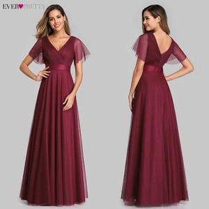 Image 3 - New Arrival Evening Dresses Long Ever Pretty A Line V Neck Tulle Women Summer Formal Party Dresses Vestidos De Fiesta De Noche