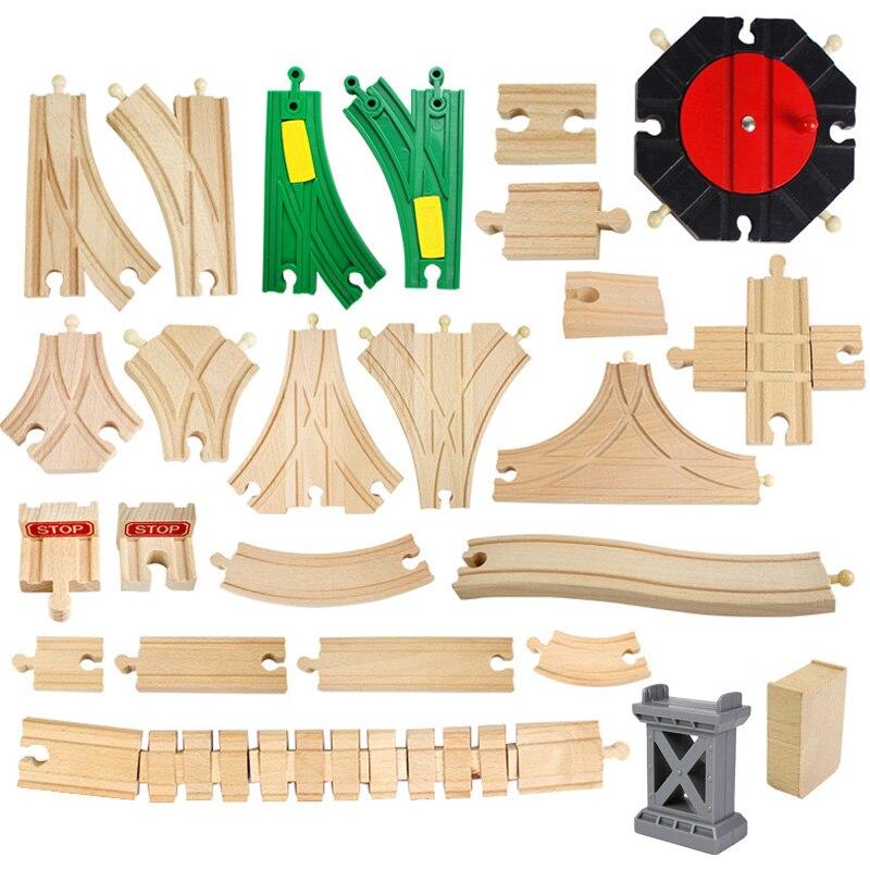 Деревянные гусеницы из Букового дерева, аксессуары для рельсовой дороги, деревянная игрушка для трека Томаса Биро, подарки для детей