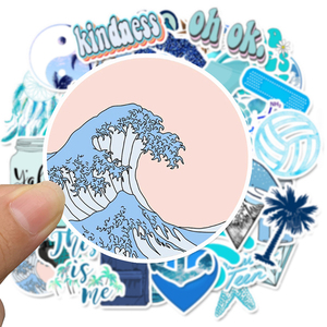 Image 3 - 50 sztuk Cartoon niebieski VSCO naklejki dla dzieci zabawki wodoodporna naklejka na DIY walizka Laptop kask rowerowy naklejki na samochód F4