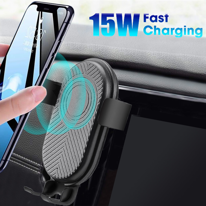 Automatic Gravity Qi <font><b>Wireless</b></font> <font><b>Car</b></font> <font><b>Charger</b></font> Mount For IPhone 11 XS XR X 8 15W Fast Charging Phone Holder For Samsung S10 S9 Note 9 image