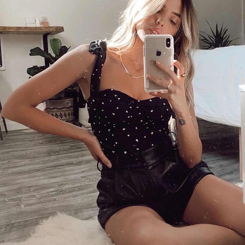 2020 New Arrivals Zomer Mode Mouwloze Print Boog Wit Zwart High Street Vrouwen Tops