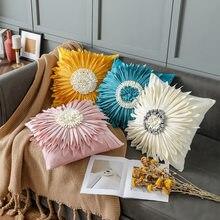 3D Handmade Yellow Flowers Pillow Cover Velvet Chrysanthemum Home Decor White Pink Blue Cushion Cover Sofa Pillowcase 45x45cm