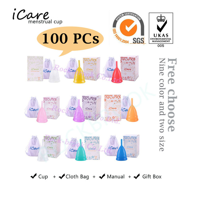 100 Pcs Cute Wholesale Reusable Medical Grade Silicone Menstrual Cup Feminine Hygiene Product Lady Menstruation Copo BMC01PK