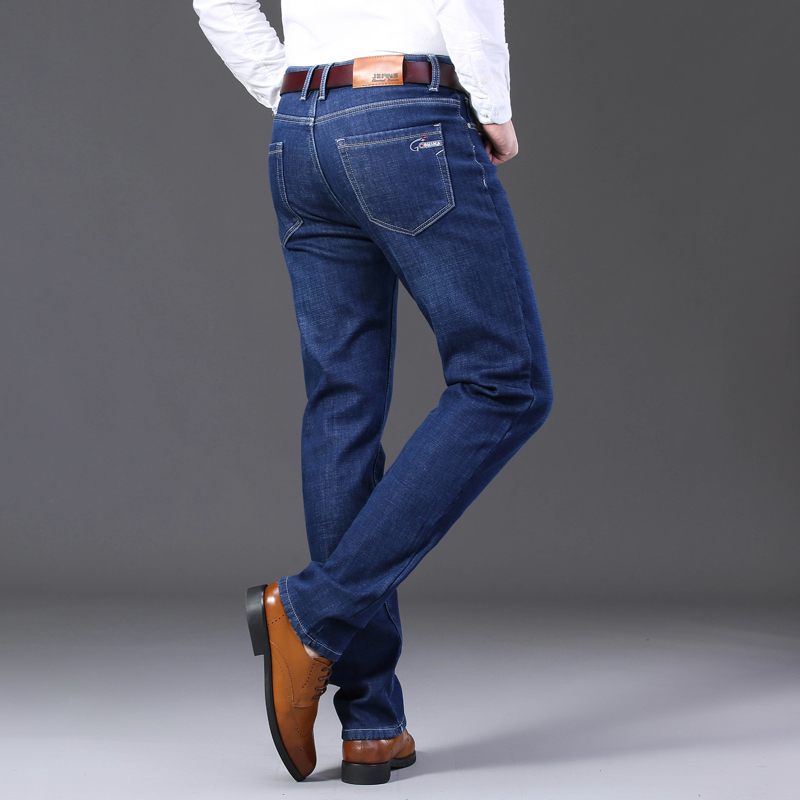 Image 4 - 2019 Mens Autumn Winter New Warm Fleece Lined Jeans Stretch  Casual Straight Thick Denim Flannel Jeans Soft Pant TrousersJeans   -