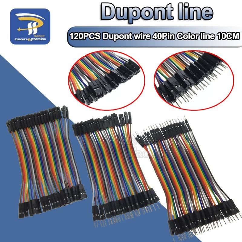 Linha de dupont, 120 peças 10cm 40pin macho para macho + macho para fêmea e fêmea para fêmea, fio de ligação cabo dupont para arduino diy kit