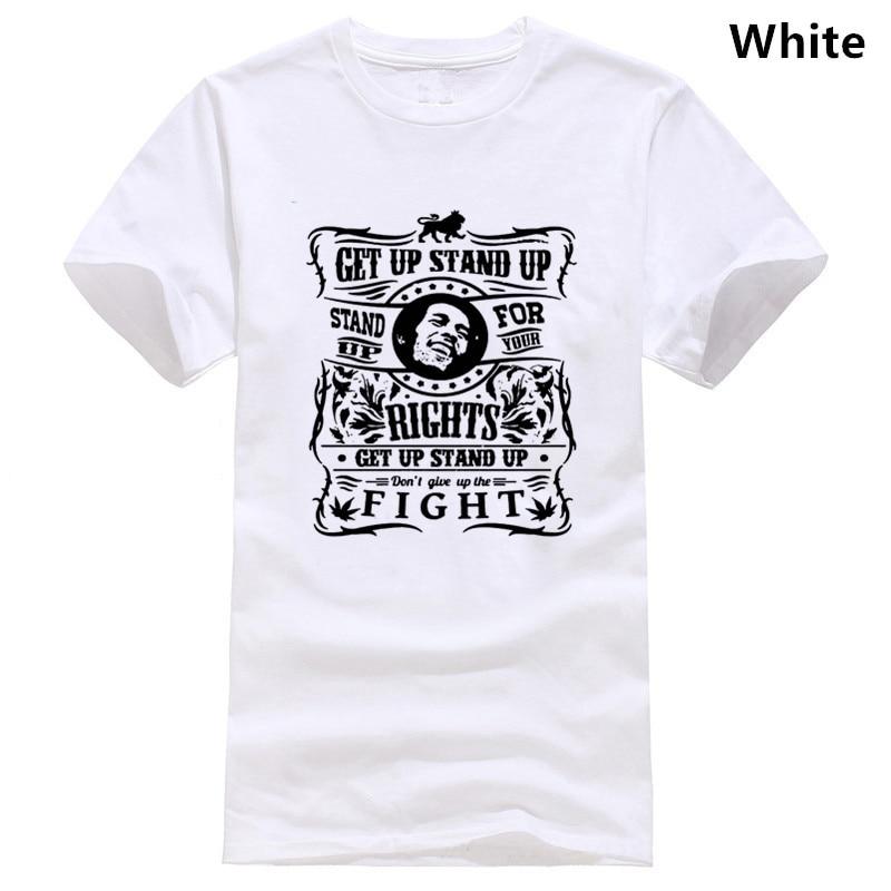 Get Up Stand Up Mens Bob Marley Inspired Reggae T-Shirt Jamaica Spliff Weed