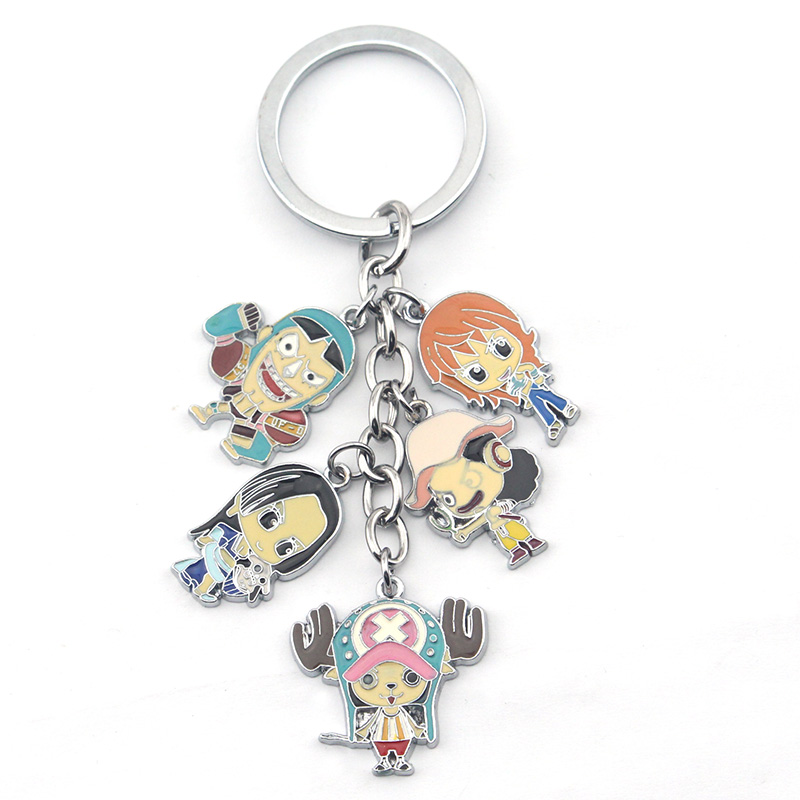 One Piece Skull Alloy Figure Keychain Metal Pendant Color Anime Cartoon Cosplay Keyring Key Ring Chain For Fans