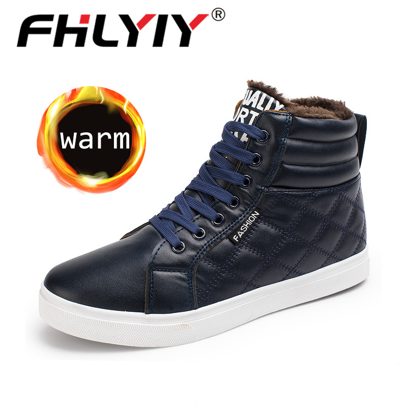 Fhlyiy Brand Winter Fashion Leather High Top Sneakers Men Shoes With Fur Plush Warm Casual Classic Comfortable Male Footwear
