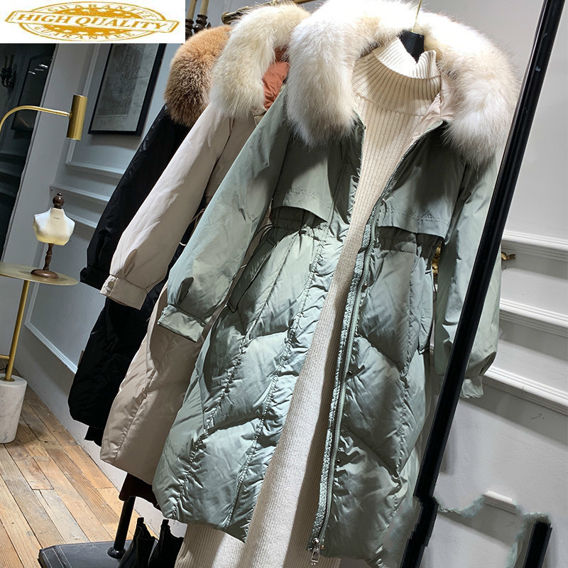 2020 New White Duck Down Jacket Women Korean Big Fur Collar Winter Jacket Women Hooded Warm Parka Chaqueta Mujer 9641 YY1591