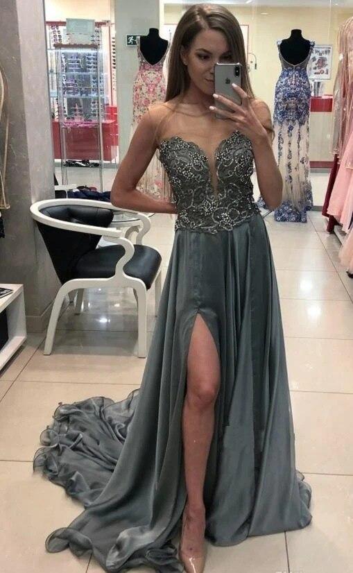 Роскошные вечерние платья 2020 из органзы с бусинами официальные