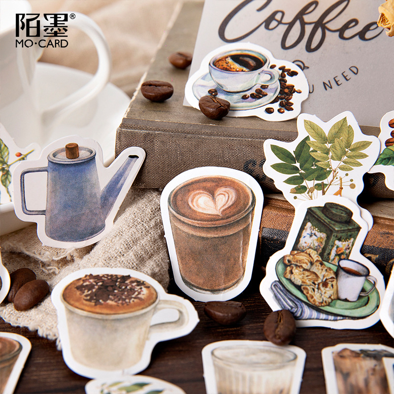 45pcs/pack Vintage Rooftop Coffee Shop Stickers Set Scrapbooking Stickers For Journal Planner Diy Crafts Scrapbooking Diary 4