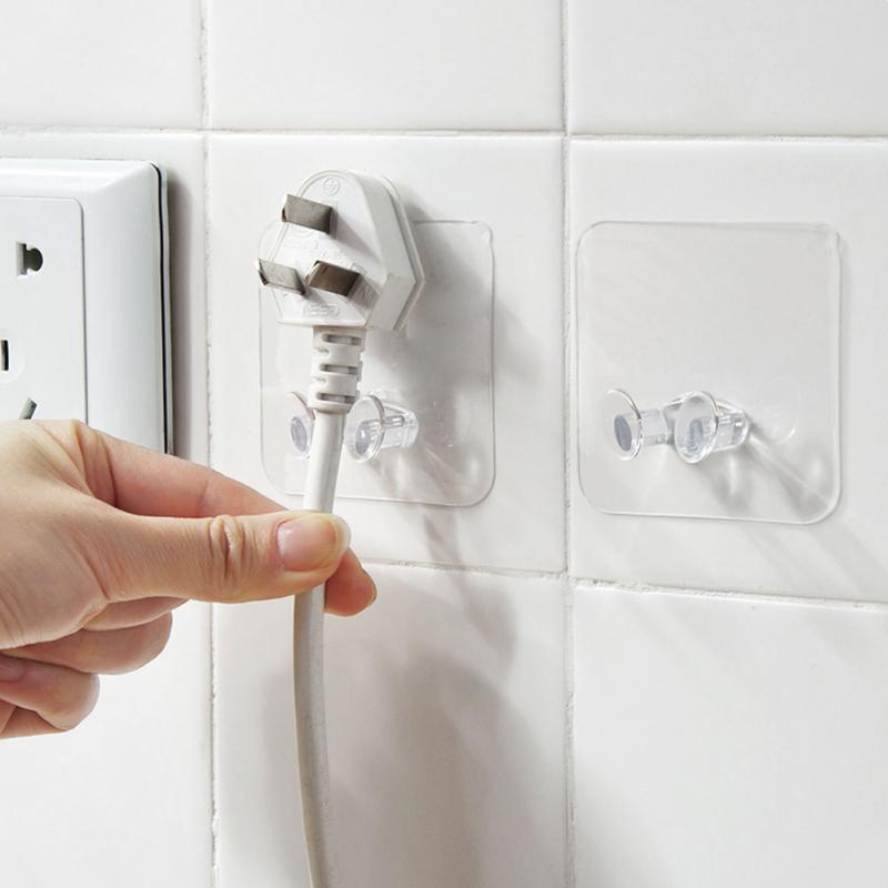 20 Pcs Wall Mount Type Hooks No Trace Plug Socket Hook Cute Door Hanger Kitchen Accessories Adhesive Storage Hook