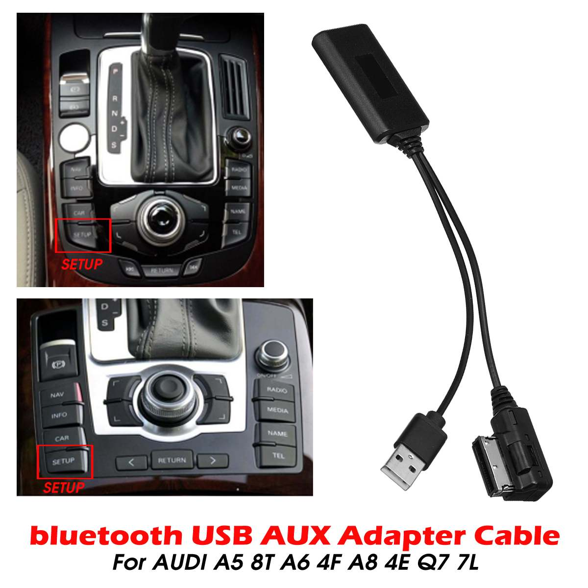 Mini Wireless Bluetooth USB AUX In Adapter Cable Music Audio Receiver Adapter For AUDI A5 8T A6 4F A8 4E Q7 7L For AMI MMI 2G