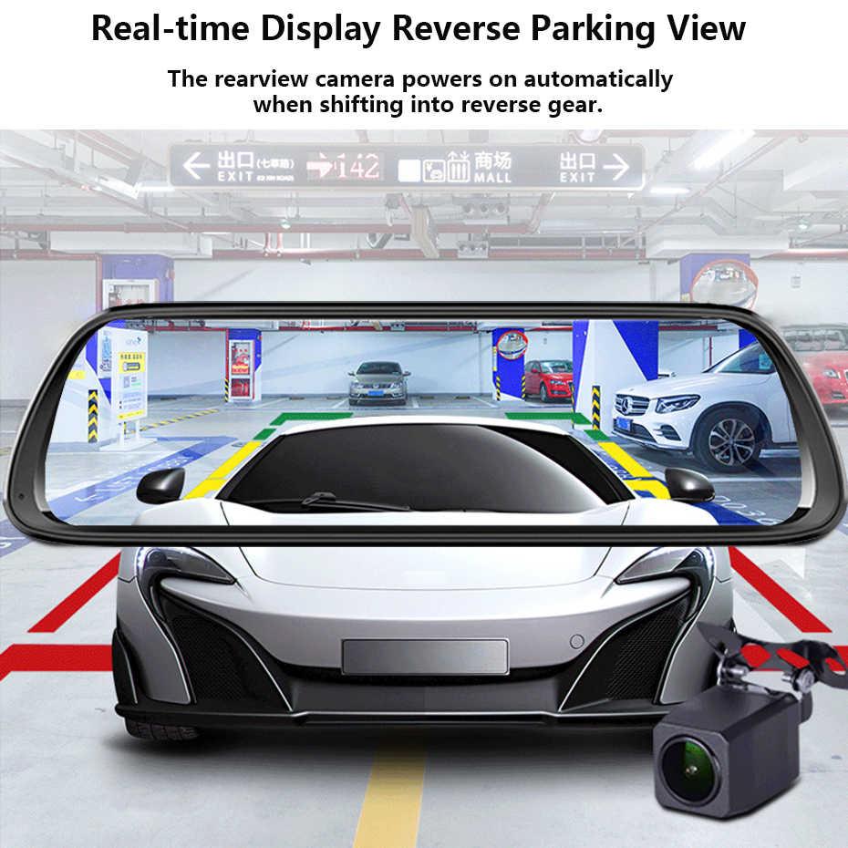 """WHEXUNE Full HD 1080P 10 """"IPS DVR con pantalla táctil para coche Stream espejo retrovisor Dash doble lente de cámara de visión nocturna Monitor de estacionamiento WDR"""
