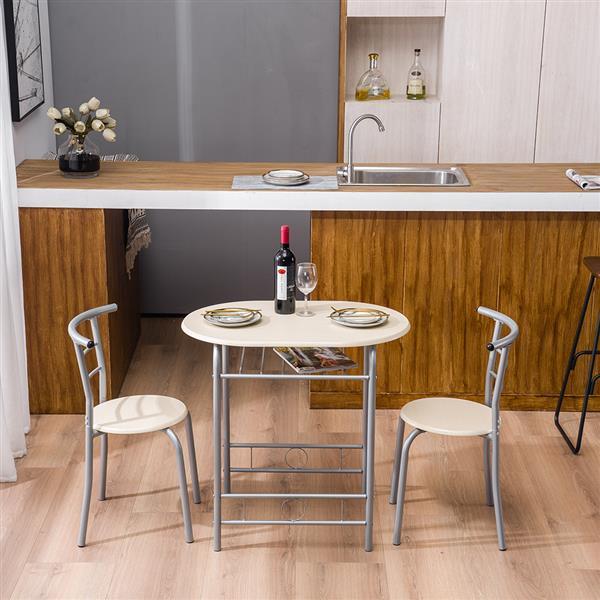Ensemble de meubles de salle à manger salon Double petite Table à manger et deux chaises