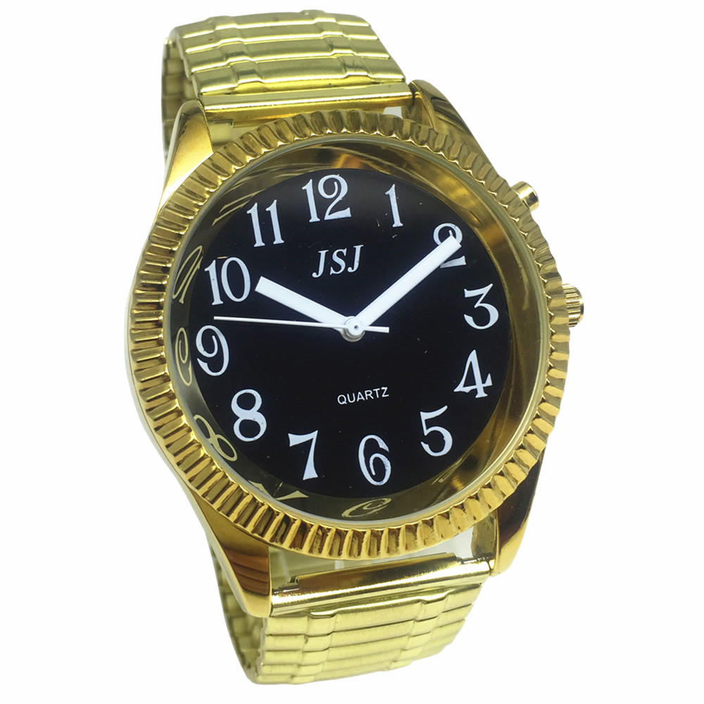 French Talking Watch With Alarm Function, Talking Date And Time, Black Dial, Folding Clasp, Golden Case TAF-G302