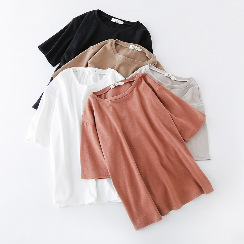 Womens Cotton T Shirts Half Sleeve 2019 Autumn O Neck Striped Female T Shirt Women White Black Casual Basic Classic Tops Clothes T-Shirts  - AliExpress