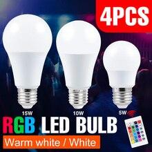 4PCS E27 RGBW LED Bulb 5W 10W 15W RGBWW Lampada LED Light Bulb 110V Changeable Colorful RGB LED Lamp With Remote Control 220V