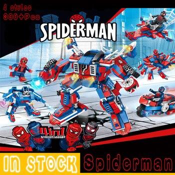 цена на Spiderman Super Heroes Blocks Toys Figures Building Blocks Bricks Gifts Children Kids Universal Block Technic Mini Spider man