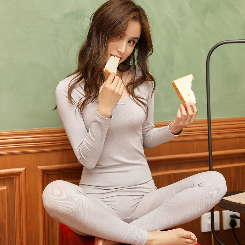 Autumn Winter Basic O-neck Modal Thermo Underwear Women Sexy Bodycon Seamless Warm Long Johns Girls Pink Striped Thermal Suit