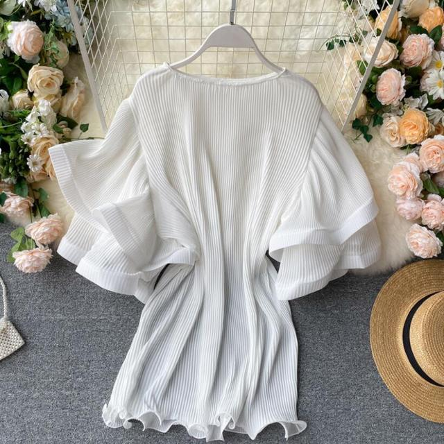 2020 Summer O-Neck Women Ruffles Chiffon Blouse Female Flare Sleeve Shirt Ladies Shirts Solid Color Women Tops And Blouses 4