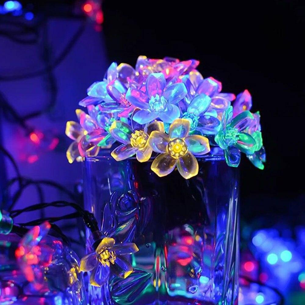 Flor de Cerezo guirnalda de flores con batería LED cadena luces de hadas flores de cristal para interior boda Navidad decoraciones púrpura