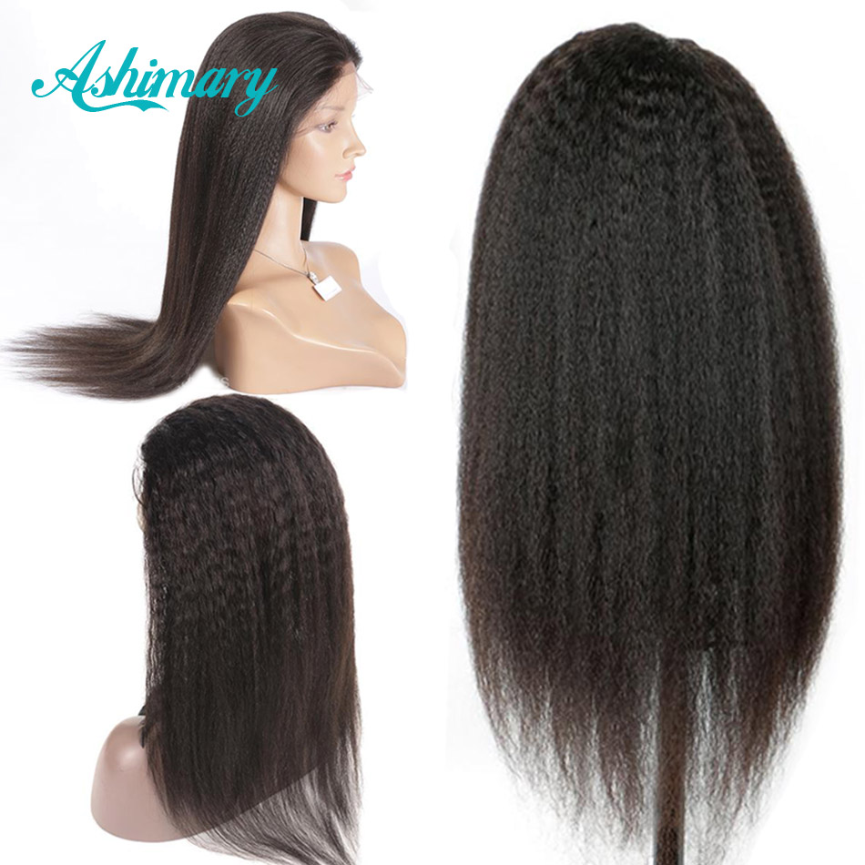 Ashimary Wig Remy Human-Hair-Wigs Lace Frontal Yaki Straight Brazilian Pre-Plucked Baby