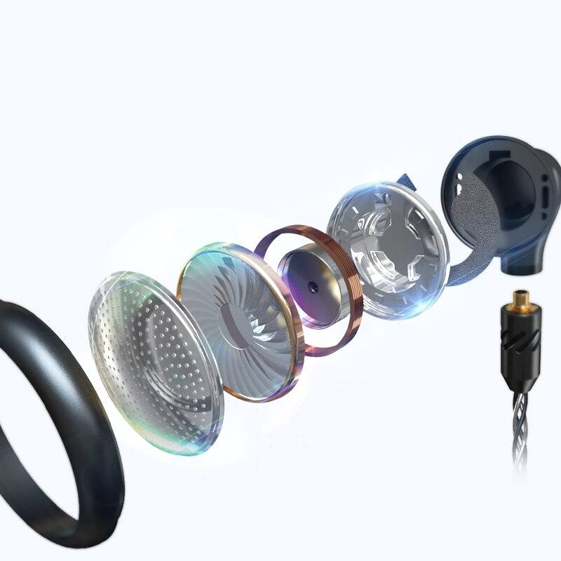 BGVP DX5 tête plate Plug Earburd métal écouteur stéréo musique Mmcx écouteur haute qualité bricolage casque - 4