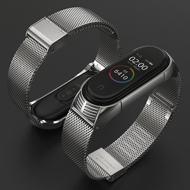 for Xiaomi Mi Band 6 Strap Compatible Mi Band 5 4 3 Strap NFC Miband 5 Bracelet Metal Steel Global Version Wristbands Correa 4